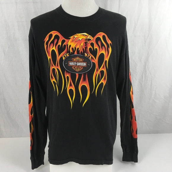 28ef36ed5b13 Harley-Davidson Other - Harley-Davidson Mens L Black T Shirt Eagle Flames